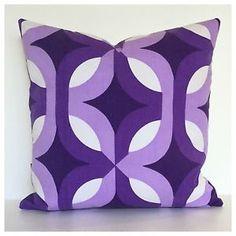 Details about Genuine Original Retro Fabric Cushion Cover 60s 70s Vintage Purple