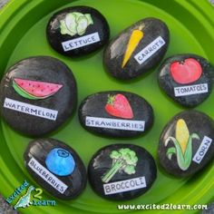 Whether you're a seasoned or novice gardener, labeling your vegetables, fruits, flowers and herbs is not only practical and educational for children, but if done creatively, can also add character to your landscape. So instead of using typical wood markers on our organic garden this year I decided to create custom stones for each of our fruits and veggies.