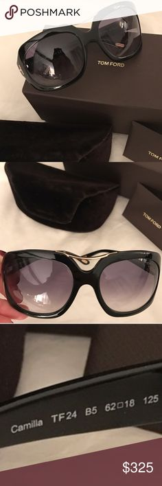 Camilla Tom Fords FAB Camilla Black and Gold Tom Fords. Just FAB and such classy quality as all TF Sunnies are!!!! I have worn them, great Used Condition no scratches or anything...Comes with all in pic. 👸🏼👸🏼🌺🌺 Offers welcome via offer button only please. 🎉🎉🎉 Tom Ford Accessories