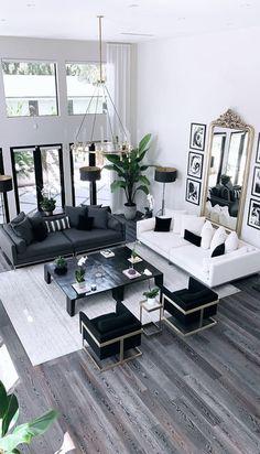 Glam Living Room, Living Room Modern, Living Room Interior, Living Room Designs, Black Living Room Furniture, Living Rooms, Black And White Living Room Decor, Black And White Interior, White Couch Decor