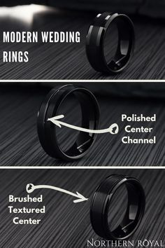 I love some of these all black wedding rings for him. Modern design but still keeping it classy. Free resizing and a lifetime warranty on these modern men's rings. He really wants a black ring and I just found the one!! #mensrings #mensweddingrings #ringsforhim