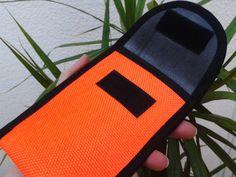 """Handytasche    Handyhülle    in """"Leucht-Orange""""      aus gebrauchten Feuerwehrschlauch      eingefaßt mit schwarz  Klettverschluß    sehr robust"""