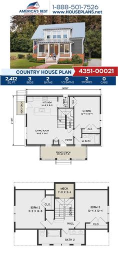 You're going to fall in love with Plan 4351-00021, a Country design featuring 2,412 sq. ft., 3 bedrooms, 2 bathrooms, a covered porch, a kitchen island and an open floor plan. Go to our website to see more about this plan! Dormer Windows, Country House Plans, Open Floor, Square Feet, Facade, Architecture Design, Kitchen Island, Porch, Bathrooms