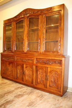 Narra display cabinet thick narra wood with hand carving for Door design narra