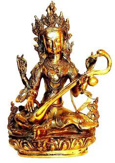 Bronze Large Saraswati Goddess of Wisdom Statue Fair Trade [6.0 X 12.0 inches; 10 lb]