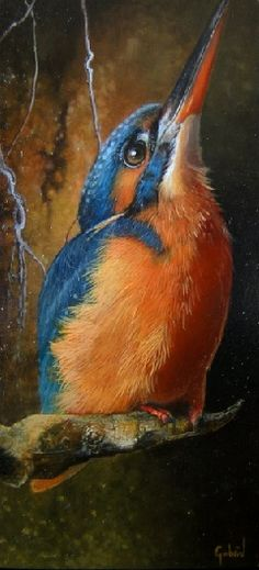 A moment small painting of a common kingfisher by Gabriel Gressie 6 x 12 cm oil on panel #art,painting