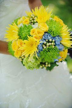 Gorgeous Bridal Bouquet Featuring: Blue Hydrangea, Green Snowball Viburnum, White Hypericum Berries, White Freesia, Green Spider Mums, Yellow Chrysanthemums, Yellow Spray Roses ~~