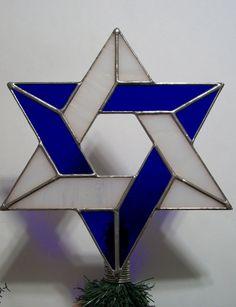 Medium Glass Interfaith Jewish Star Tree Topper for Mixed Religion Families