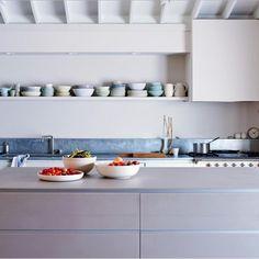 #TuesdayDecor: Simple elegance in the kitchen [Photo: @MarthaStewart July/August 2015]  #kitchen #homedecor #grey #simple by texturecanada