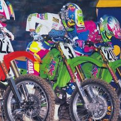 Jean-Michel Bayle (22), Jeff Ward (3) and Jeff Matiasevich (20) launching off the line in Supercross 1990 - @motocrossactionmag photo