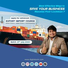 Owh.. Yeah #CORONA is one major reason to revised your #BUSINESS.  . Learn to Earn from Home: Apply for Advanced Export Import Training.  . Batch: 27th July 2020 *Only Limited Seats Available* Call: 9898724798 . #eximbatch #eximcourse #exporttraining #postlockdown #savebusiness #covid19 #DigitalExim #exportimport #import #export #importer #exporter #incoterms #clearingandforwarding #foreigntrade #globalbusiness #business #cargo #port   9505506333 | www.digitalexim.com Business Resume, Earn From Home, Business Requirements, Global Business, Digital Marketing, How To Apply, Training, Corona, Work Outs
