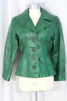 "Vintage 70s Kelly Green Leather Jacket ""Skin Flair"" XS"