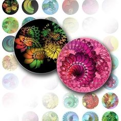 Digital collage 1 inch circles bottle cap digital art images jewelry making paper supplies Colorful abstract swirls