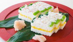 Oshizushi with Crab Meat Oshi Sushi, Crab Meat Recipes, Asian Recipes, Ethnic Recipes, Nhk, Sushi Rolls, Japanese Food, Baking Recipes, English