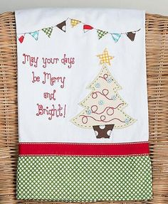"""Merry And Bright Christmas Tree Embroidered Hand Embellished Dish Tea Towel - 19"""" x 25"""""""