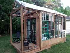 Our recycled windows greenhouse!