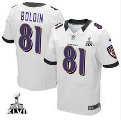 Men\s Nike Baltimore Raven\s http://#81 Anquan Boldin Elite White Color With Super Bowl Patch Jersey$129.99