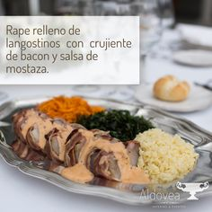 La mesa ya está lista  Proponemos un delicioso Rape relleno de langostinos con crujiente de bacon y salsa de mostaza crujiente de batata, puerro y puntaletes  #AldoveaCatering