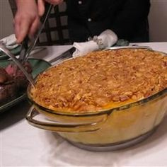 Side Dish, Autumn Squash Casserole, Cooked, Mashed Buttercup Squash--Or Your Favorite Winter Squash--Is Baked With Sliced Apples And A Cornflake-Pecan Topping In This Colorful Side Dish. Thanksgiving Side Dishes, Thanksgiving Recipes, Fall Recipes, My Recipes, Holiday Recipes, Cooking Recipes, Favorite Recipes, Recipies, Dinner Recipes