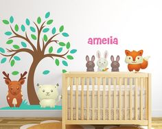 Forest Theme Nursery Vinyl Wall Decals Set by LullaberryDecals Kids Room Wall Decals, Animal Wall Decals, Nursery Wall Decals, Custom Vinyl Wall Decals, Forest Nursery, Forest Theme, Animal Nursery, Nursery Themes, Room Inspiration