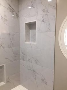 Bathroom Remodel Discover MSI Carrara 12 in. x 24 in. Glazed Porcelain Floor and Wall Tile sq. Home Depot Bathroom Tile, Marble Tile Bathroom, Master Bathroom Shower, Bathroom Flooring, Bathroom Interior, Wall Tile, Cultured Marble Shower Walls, Tile Shower Niche, Marble Look Tile