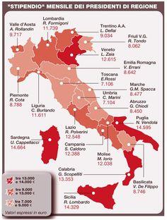 I segreti della #casta: la mappa degli stipendi dei presidenti di regione