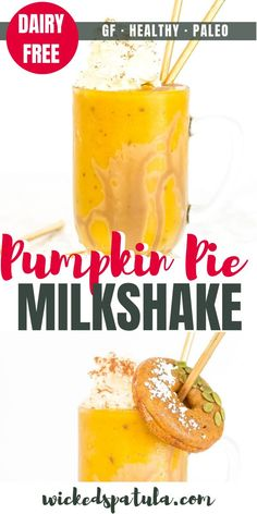 Pumpkin Pie Milkshake - You will love this easy milkshake, complete with salted caramel, whipped cream, and optional pumpkin donuts. Gluten Free Drinks, Gluten Free Recipes For Breakfast, Paleo Breakfast, Easy Healthy Smoothie Recipes, Best Paleo Recipes, Paleo Dessert, Dessert Recipes, Drink Recipes, Milkshake Recipes