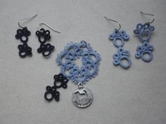 I designed this for a recent event sponsored by Pets on Wheels.  Lots of dogs, lots of fun.     Tatted pendant and earring set in navy blue and by TattingByWendy, $33.00