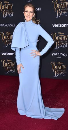 """Celine Dion in Christian Siriano attends Disney's """"Beauty and the Beast"""" L.A. premiere. #bestdressed"""