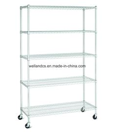 "Wholesales 5 Tier NSF Chrome Steel Wire Shelving Storage Rack, 18""Dx48""Wx74""H, Model NO.: CJ184874A5CW Weight: 800lbs Closed: Open Development: New Type Serviceability: Common Use Finish Type: Chrome Plated Testing: 24 Hours Salty and Spray Testing Shelf Type: Wire Shelving Style: Heavy Duty Certificate: NSF, SGS, Gmc Capacity: Custom Using Inviroment: Dry Packing Way: Knock Down Shelves: 5 Layers OEM/ODM: Available Trademark: Welland Transport Package: 1 Set/Brown Carton Specific Steel Storage Rack, Steel Racks, Storage Shelves, Wire Shelving, Adjustable Shelving, China Storage, Workshop Storage, Exhibition Display, Chrome Plating"
