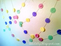 Tissue paper circle garland; would be super cute with paint chips too