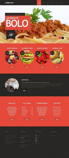 Web design inspiration: Bold / color blocking behind header text / red / black / food / circles / large photo