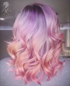 Pastel ombre lilac peach and pink hair