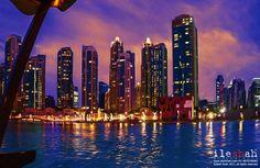 Dubai Fountain Skyline - A fine art painting of Dubai Skyline from Dubai Fountain.
