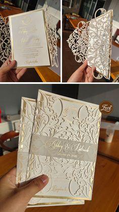 Ivory and shimmer gold monogram wedding invitation with belly band #EWI #weddinginvitations