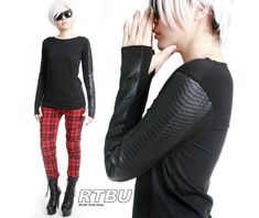 Androgynous faux snake python leather scale skin thumb hole mitten shirt standard tops 6