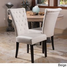 Add beautiful elegance to your kitchen or dining room with these Venetian upholstered dining chairs. These upholstered dining chairs feature a wooden frame for a sturdy construction and a fabric or ve
