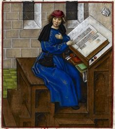 Detail of a miniature of Jean de Meun writing his book, from the Roman de la Rose, Netherlands (Bruges), c. 1490 – c. 1500, Harley MS 4425, f. 133r