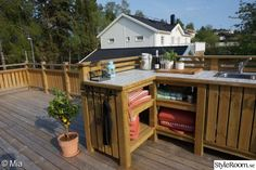 When our large patio was completed last year, we already had plans for an outdoor kitchen … Sweden House, Timber Roof, Getaway Cabins, Pergola Designs, Pergola Ideas, Roof Structure, Outdoor Furniture Sets, Outdoor Decor, Outdoor Living