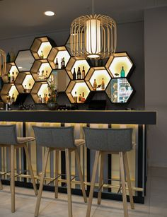 JOI-Design Bridges Past with Present at the Capri by Fraser Berlin - Design Milk Back Bar Design, Bar Counter Design, Lounge Design, Bar Lounge, Home Bar Counter, Chair Design, Design Design, Bar Interior Design, Restaurant Interior Design