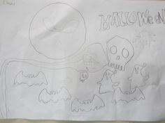 El alumnado trabajo la creatividad y la expresión plástica utilizando sólo el color blanco y negro (con diferentes intensidades). Dibujo para Halloween.