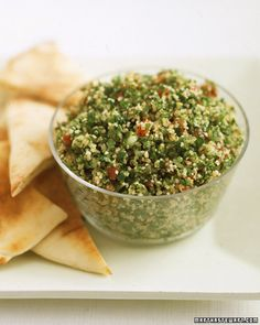 Parsley is always a main ingredient in tabbouleh, a Middle Eastern dish that's delicious served with pita wedges.