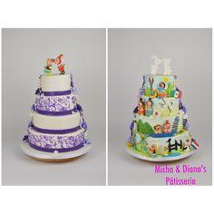 Bruidstaart met twee verschillende kanten. Bruidstaart met paarse details, en de andere kant gedecoreerd met het carnival festival thema.
