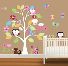Children Wall Decal Baby Nursery Wall Stickers Owl Decal Butterflies Flowers