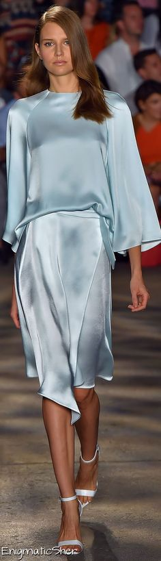 China Blue silk on the catwalk at New York Fashion Week. Beautifully elegant!