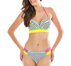 Summer Rainbow Colorful Striped Halter Sexy Bikini Bathing Suits8090YL4 ** More info could be found at the image url.