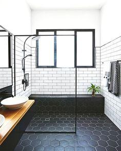 Midcentury Modern Bathroom Tile Ideas Midcentury bathroom where white subway tiles meet black hexagon tiles.Midcentury bathroom where white subway tiles meet black hexagon tiles. House Bathroom, Bathroom Inspiration, Bathroom Interior, Bathrooms Remodel, Bathroom Decor, Bathroom Design, Modern Bathroom Tile, Bathroom Remodel Master, White Bathroom