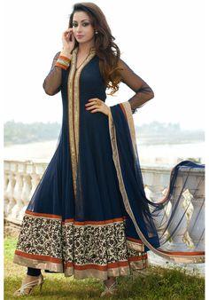 Blue Colored Net Simple Anarkali Suit