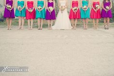 pink, blue, and purple wedding colors