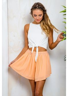 Date Pudding Womens Floaty Shorts - Sherbet Apricot -SALE - Stelly Summer Colors, Fashion Addict, Lace Trim, Skater Skirt, Off The Shoulder, Granddaughters, Shorts, Twin, Model
